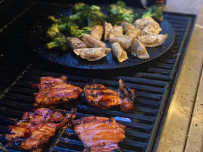 Cooking Chicken Teriyaki Dinner on the Grill.