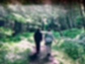 Two people walking on a wooded path.