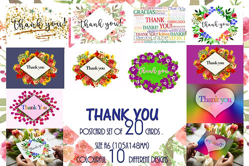 Pack of 20 Mixed Beautiful Thank You Postcards Made in UK Colourful design