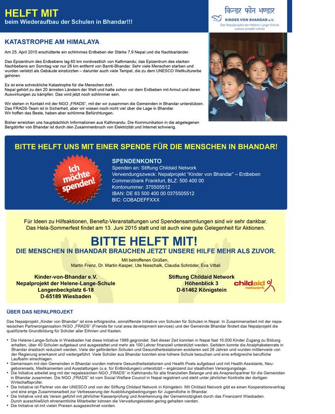 HeLa Wiesbaden sammelt für Wiederaufbau ihrer Partnerschulen in Nepal!