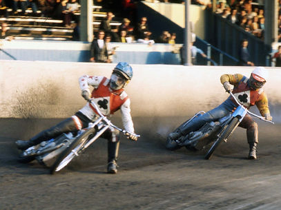Ivan Mauger and Alan Wilkinson riding for Belle Vue speedway Manchester