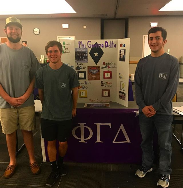 Brothers Jacob Oliphant, Sawyer McCarley (Philanthropy Chair), and Nick Pelosi (left to right) at th