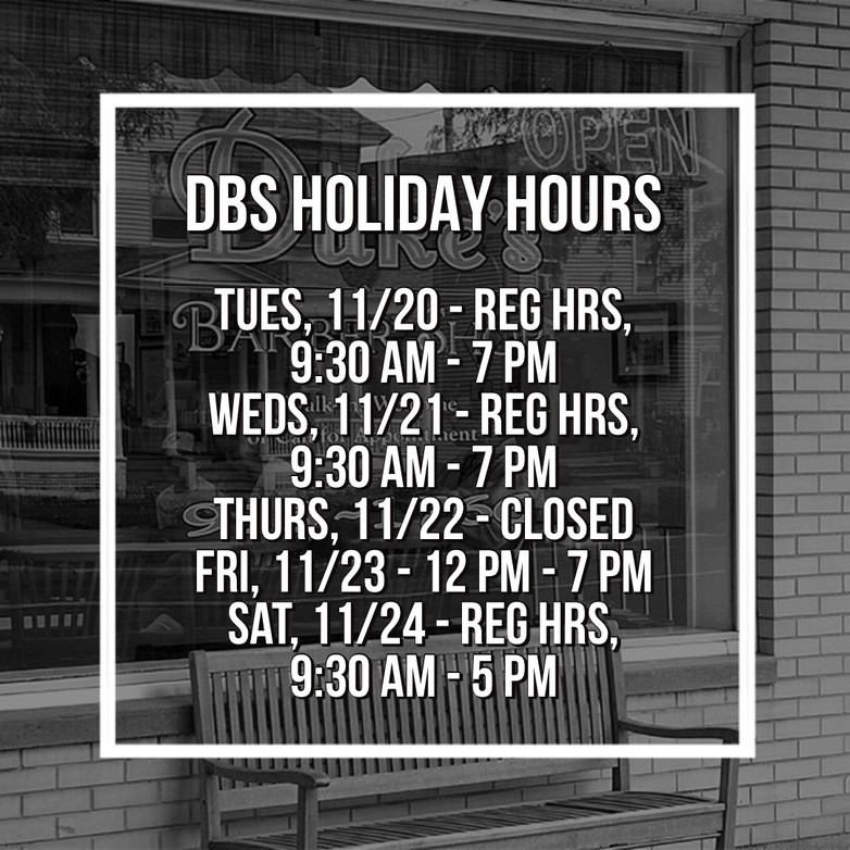 Holiday Hours at Dukes Barber Shop