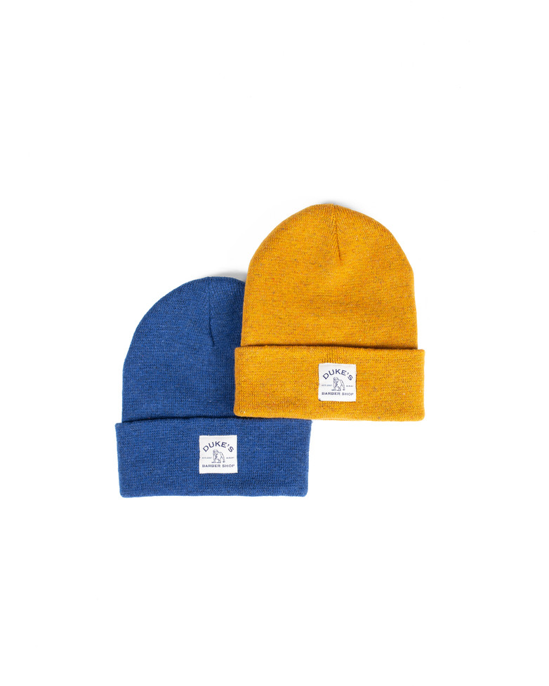 New DBS Beanies Available in Blue and Mustard