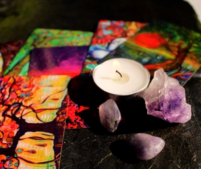 candle, amethyst, oracle cards