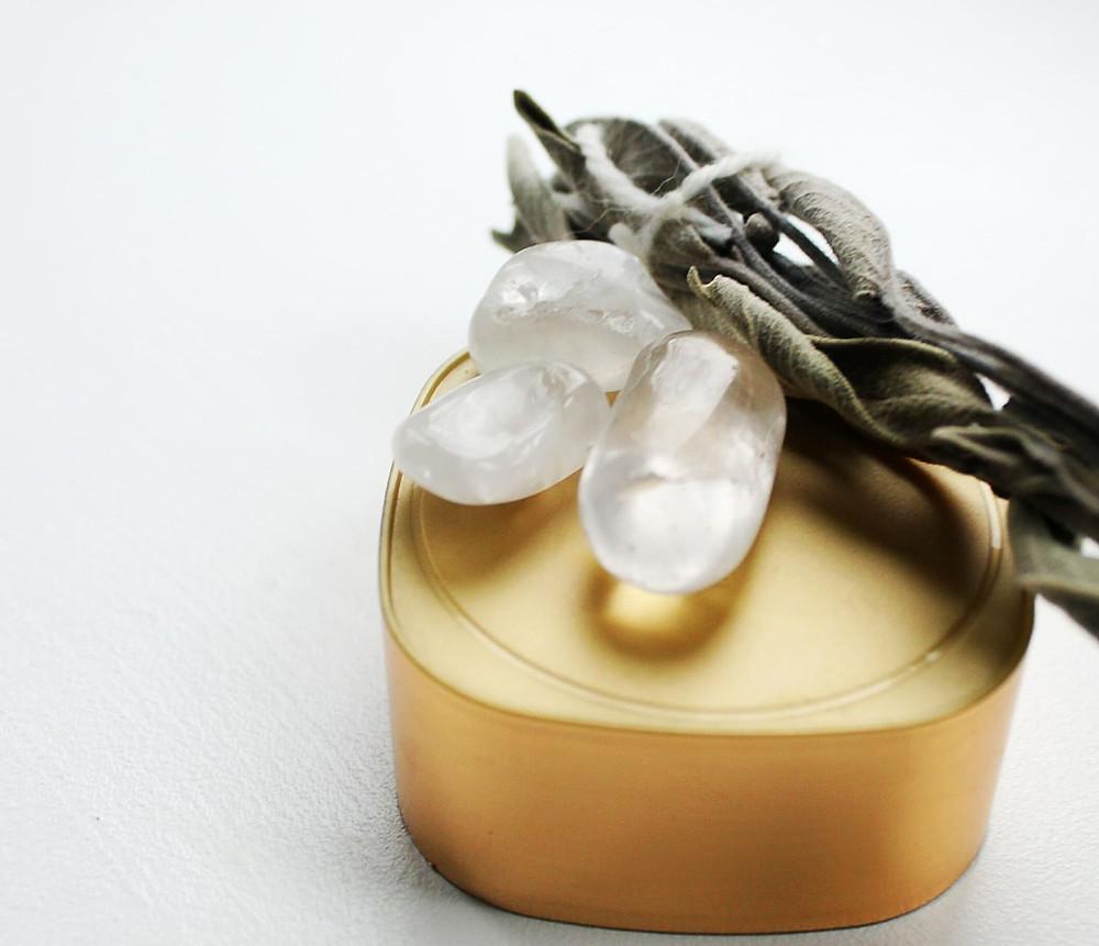 Clear quartz, sage, gold
