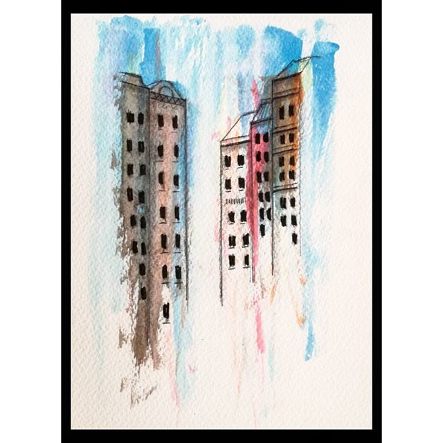'Urban Dwellers' ...watercolor, pencil..