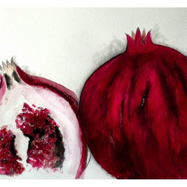 'Pomegranates'...watercolor,pencil..