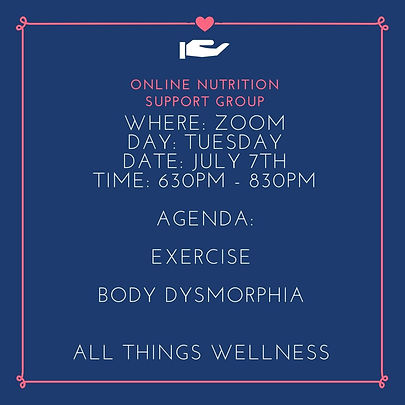 Online nutrition support group July 7th.