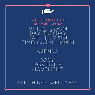 Online nutrition support group July 21st