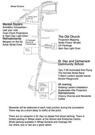 Parade Route and Event Plan for Saturday 24th March