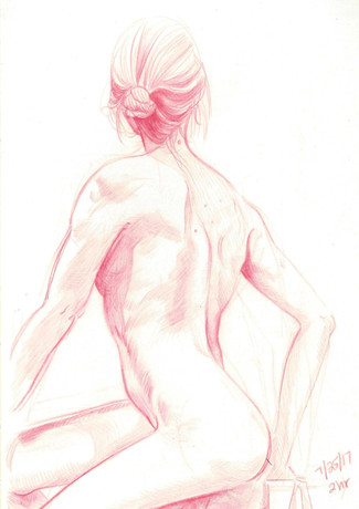 2 hour figure drawing working from a model. (2017)  Some of my figure drawings, including this one, are available as mini-prints on Etsy. Follow the link to check them out!