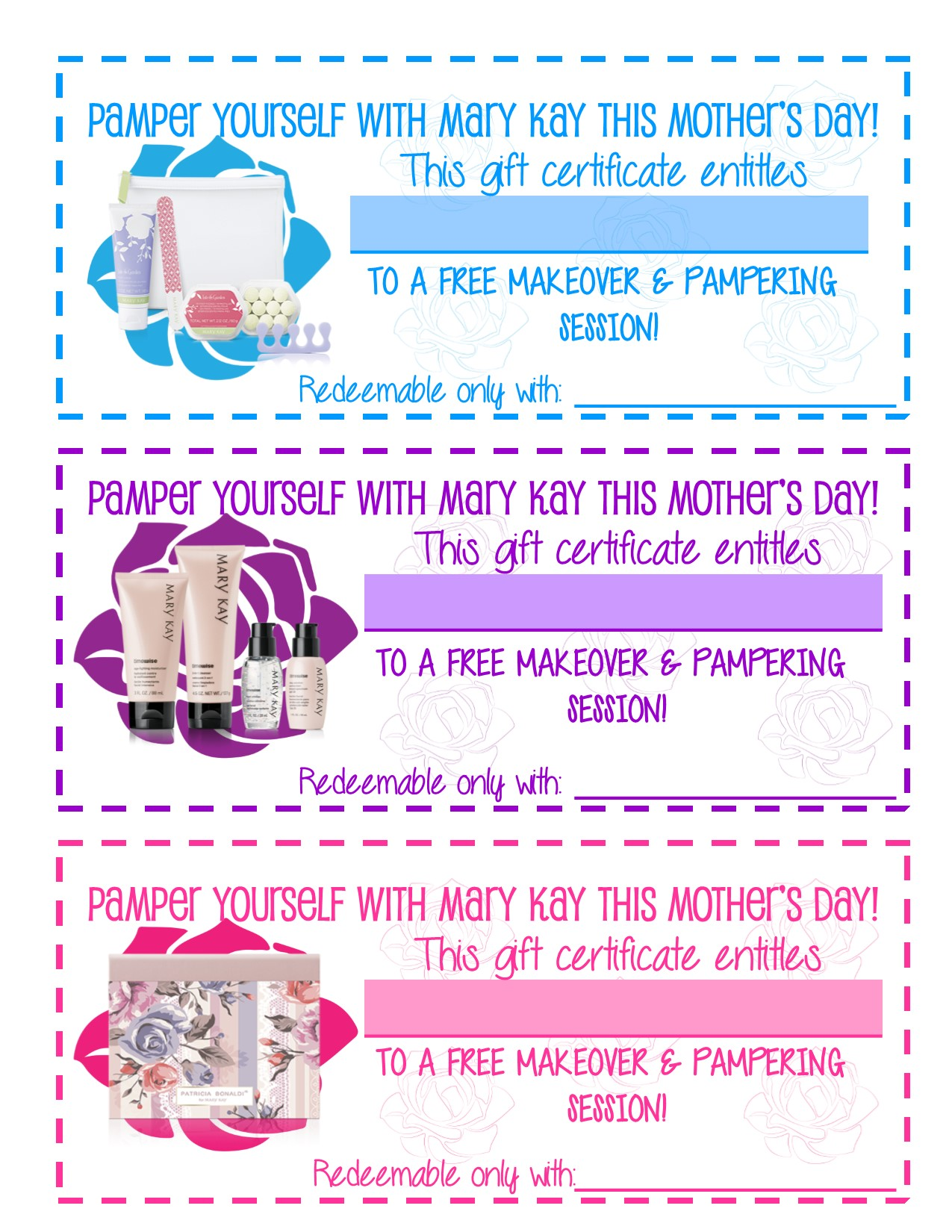 Freebie Mothers Day Gift Certificates To Promote Pampering Sessions