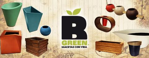 Línea vanguardista de macetas fabricadas en fibra de vidrio.  Los diseños de B Green, van cambiando en formas, texturas y colores de acuerdo a las tendencias de la moda.