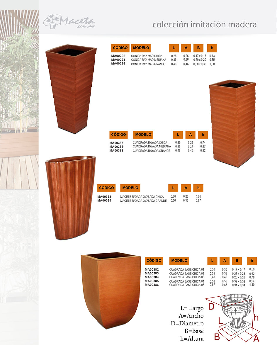 Macetas de fibra de vidrio con diferentes terminados y estilos. Fabricamos Productos de fibra de vidrio sobre proyecto: Arquitectura, Decoración, Hoteleria, Construcción, macetas estilo madera, dkomania