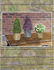 Productos de importación para la decoración y el jardín: follajes, plantas artificiales, macetas, jarrones,vasijas, portarretratos, espejos, accesorios  y novedades. Pinos, topiarios y arbustos.
