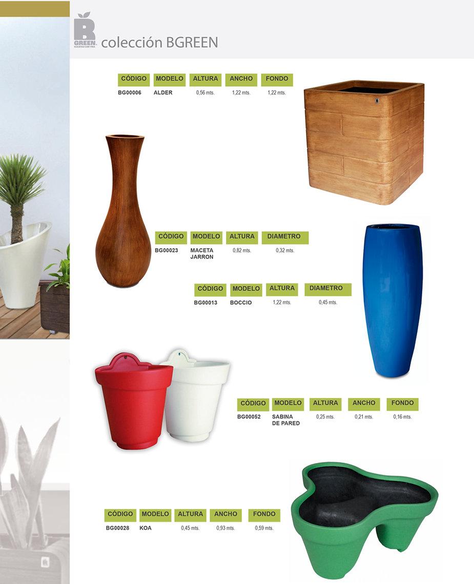 Macetas de fibra de  vidrio, diseño vanguardista. Colección Bgreen.