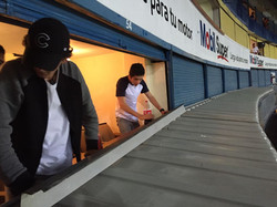 Techos de palcos en el estadio Jali