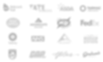 A collection of monochrome company logos