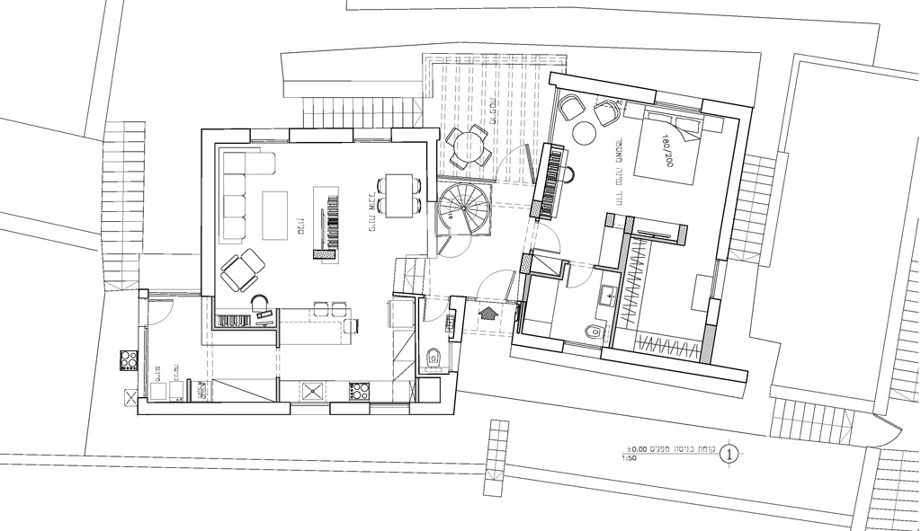 קטן-תכנית קומת כניסה-פרוייקט אדריכלי עיצ