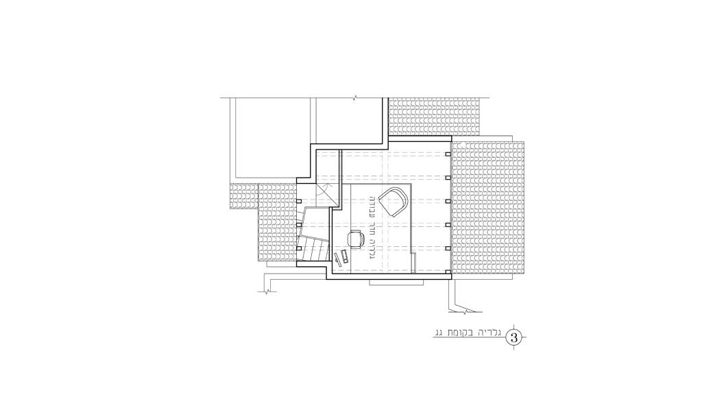 גלריה בגג תכנית אדריכלית