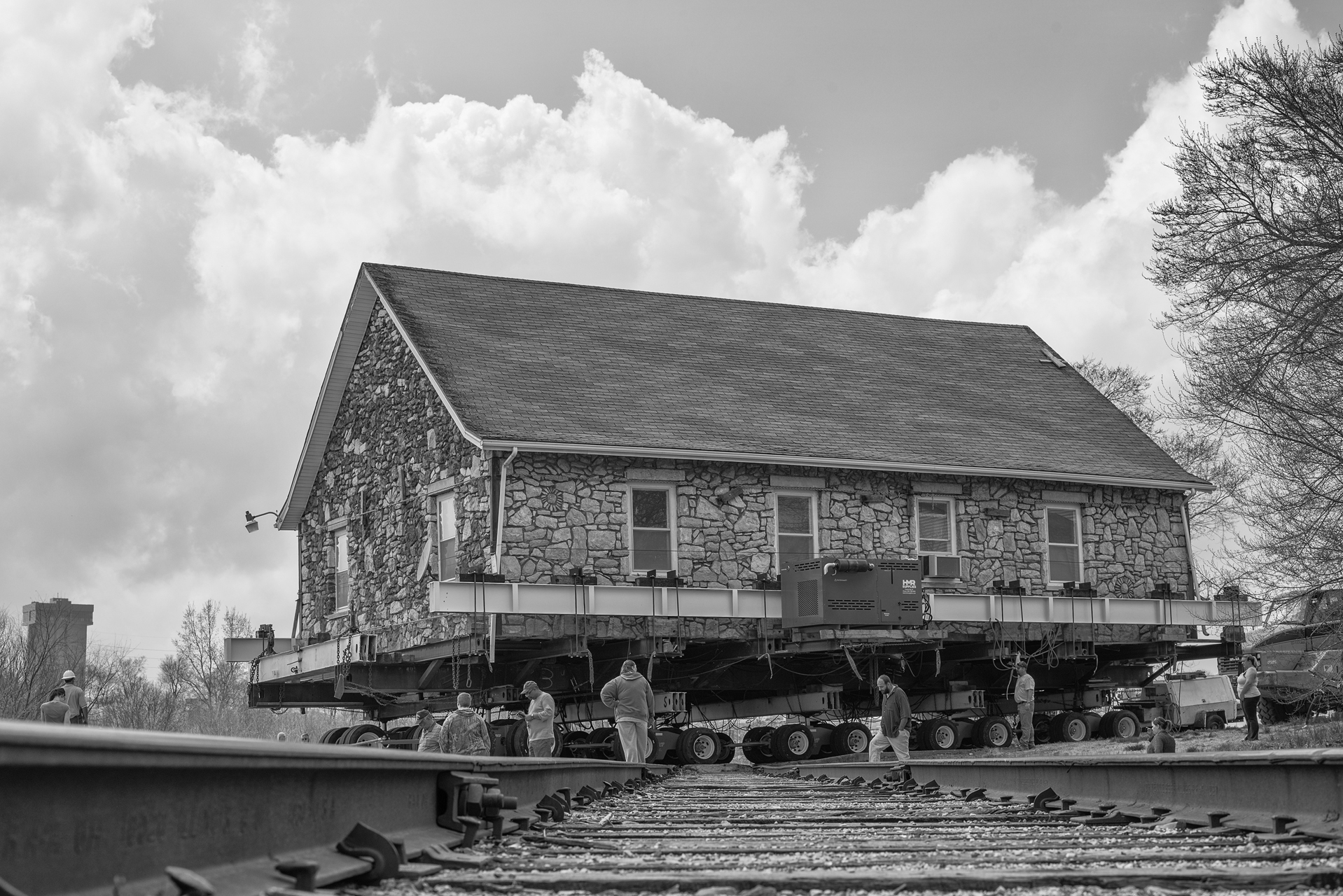 Temple on tracks BW