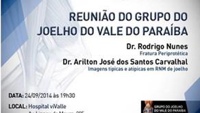 Dr. Rodrigo é palestrante da aula - Fraturas Periprotéticas - no Grupo de Cirurgia do Joelho em SJC