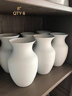 8in white vases