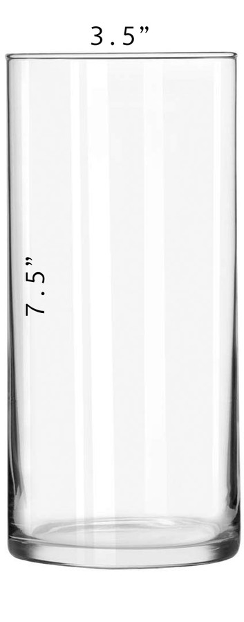 Cylinder Vase - 7.5 x 3.5 with Dimension