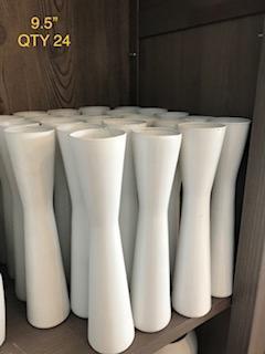 9.5in white vases