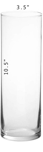 Cylinder Vase - 10.5 x 3.5 with Dimensio