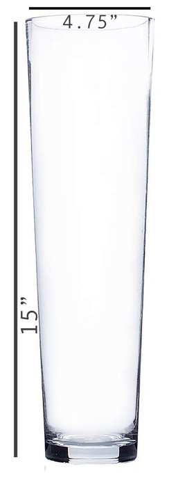 Cylinder Taper Down Vase - 15x5 with Dim