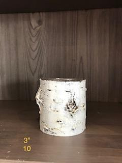 3in white wood candle