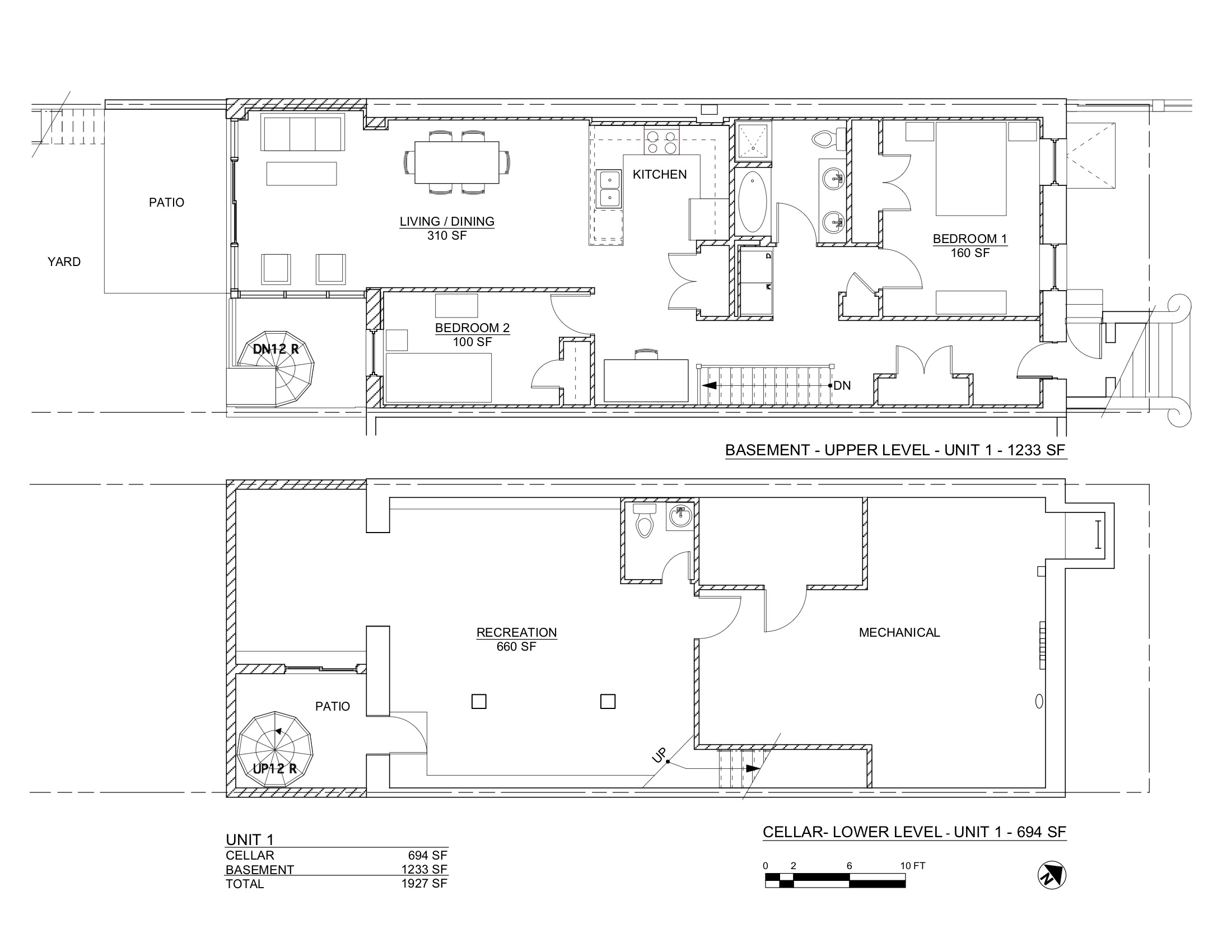 PACIFIC STREET PLANS CELLAR & BASEMENT F
