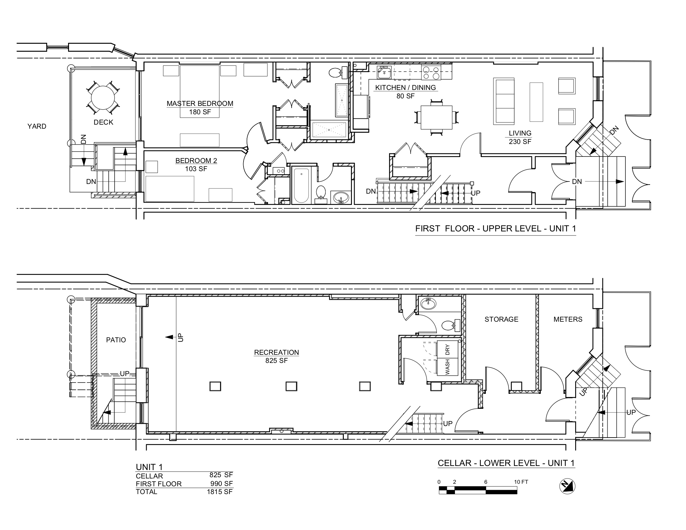 8TH AVENUE PLANS CELLAR & 1ST FLOORS