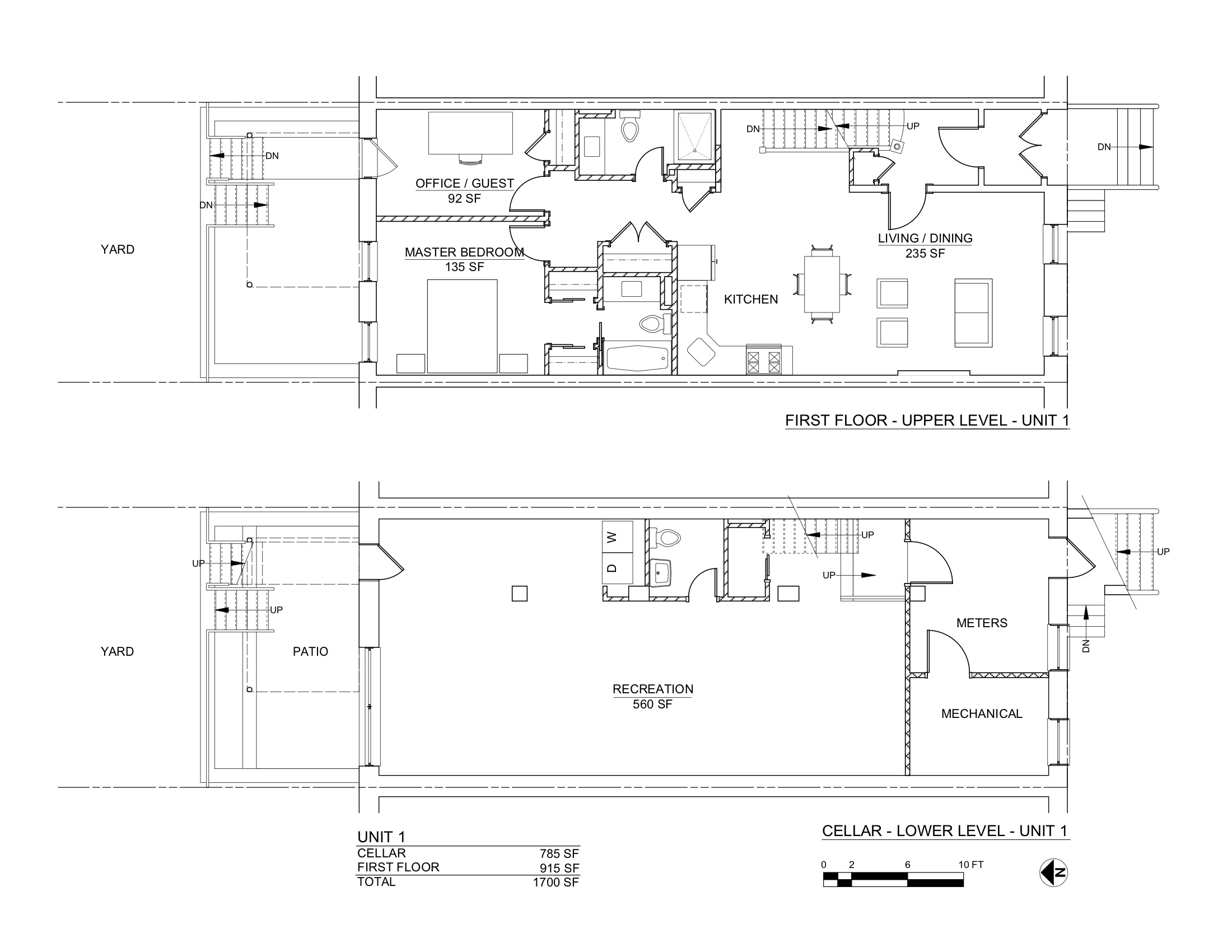 CARROLL STREET PLANS CELLAR & 1ST FLOORS