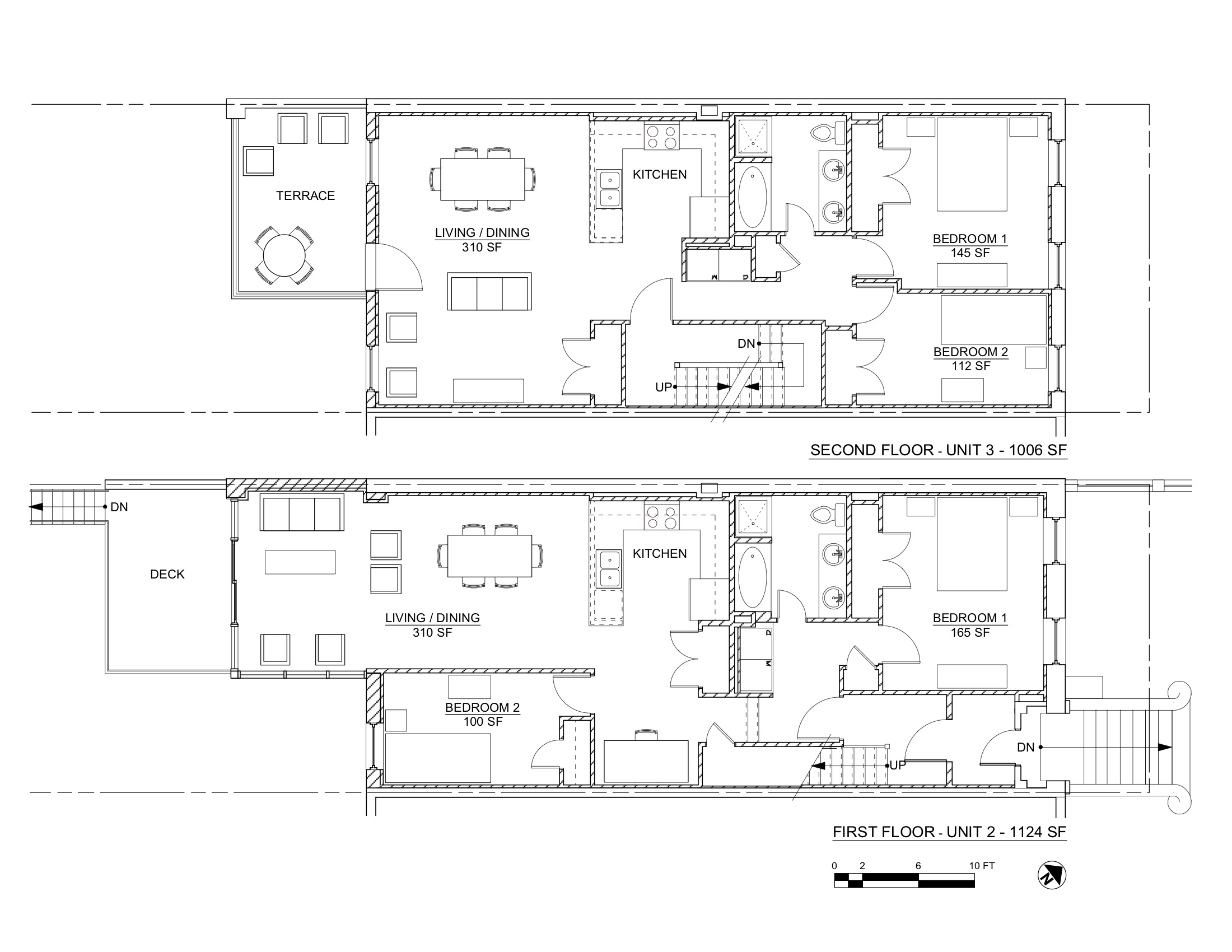 PACIFIC STREET PLANS 1ST & 2ND FLOORS