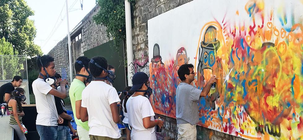 Fresque atelier graff MJC La Voulte