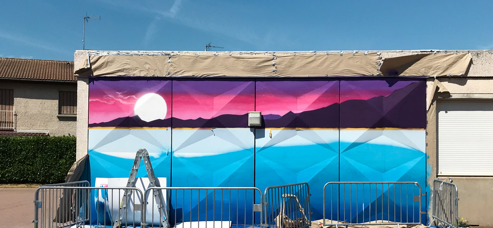 Fresque Graffiti Art école La Véore
