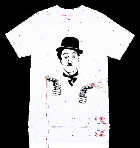 Tee-shirt blanc - Angry Chaplin
