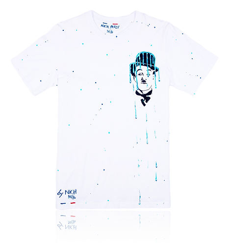Tee-shirt blanc - Curious Chaplin mini