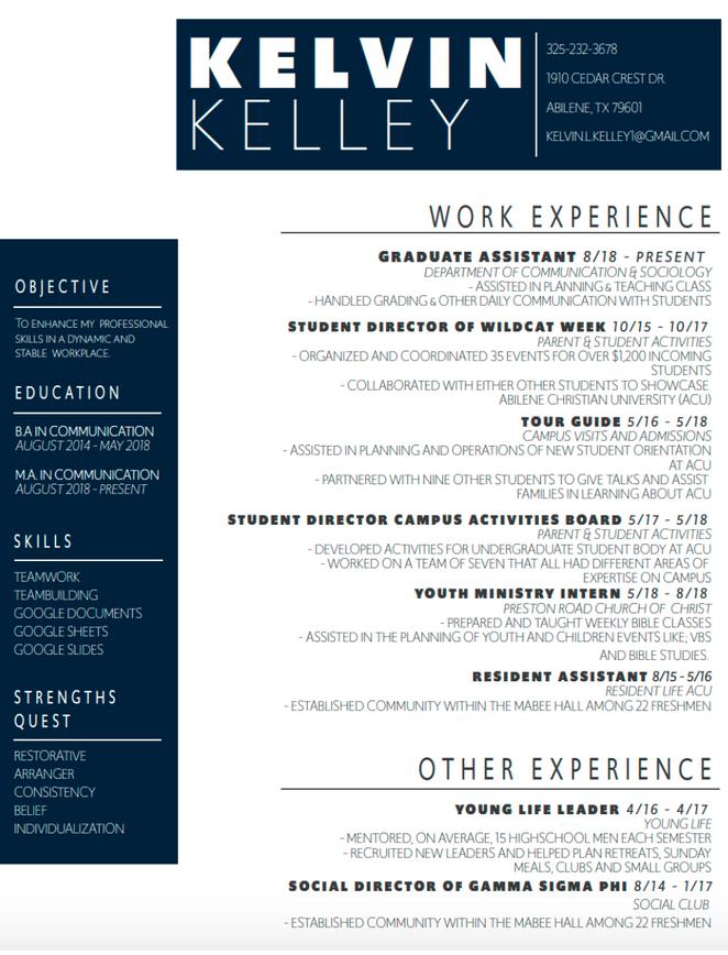 Kelley Resume Design