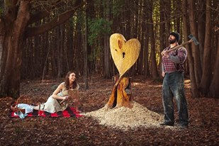 Chainsaw carved heart for photo prop, location Abram Wisconsin