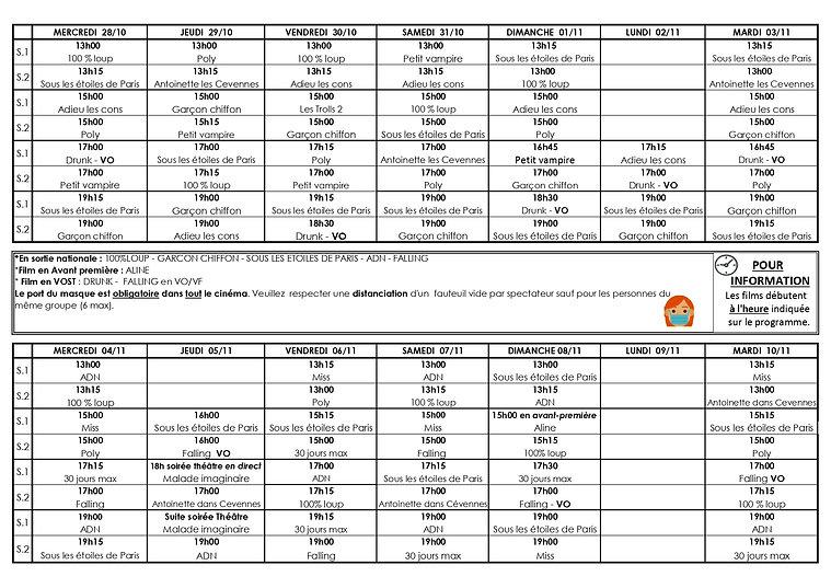 Grille programme du 28 oct au 10 novembr