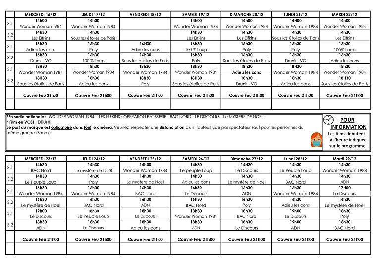 Grille programme du 16 au 29 Decembre 20