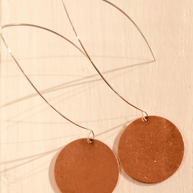 """Copper Circle Hook Earrings"" by Lucretia Albright"