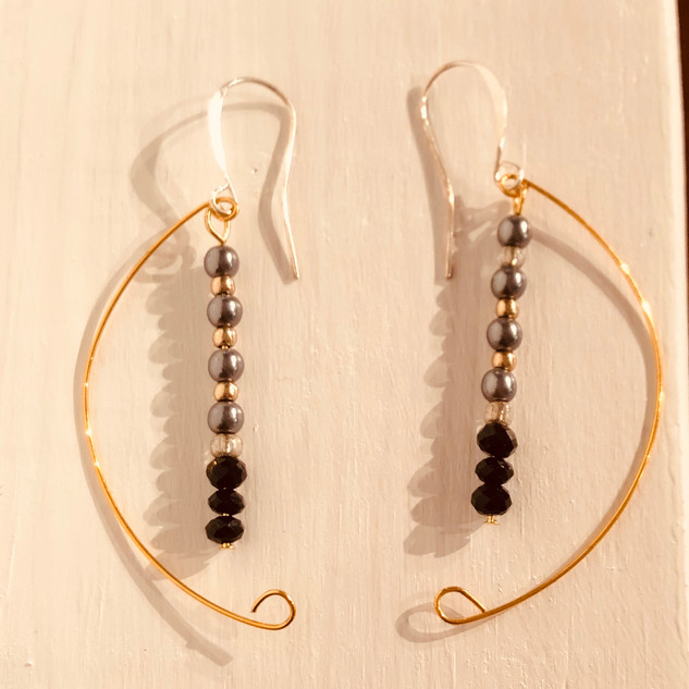 """Crescent Moon Wire & Bead Earrings"" by Lucretia Albright"
