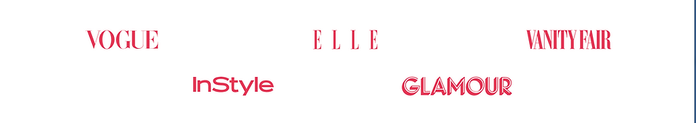 Vogue, InStyle, Elle, Glamour and Vanity Fair logos in pink