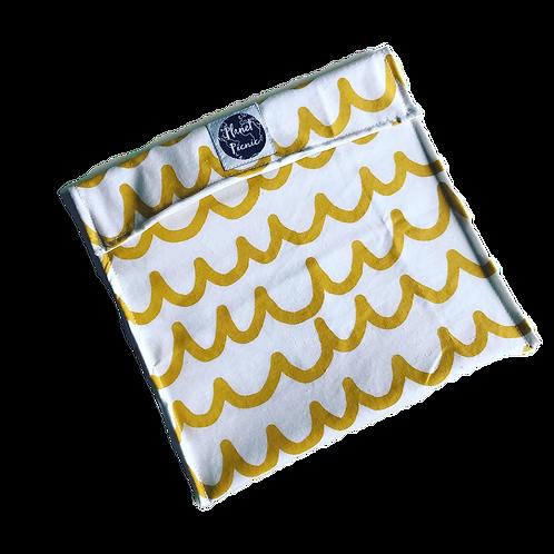 Extra Large Reusable Sandwich Bag, Mustard Wave