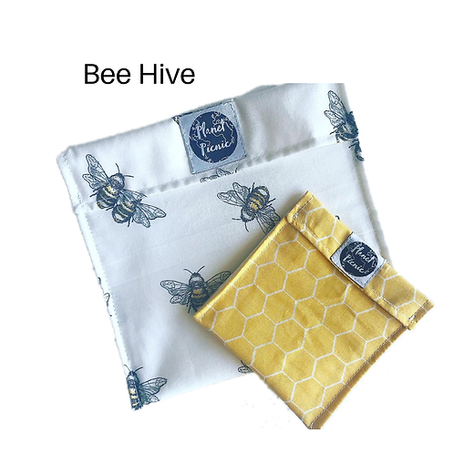 Bee Hive, Reusable Sandwich & Snack Set